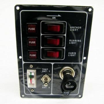 3 GANG 12v MARINE SWITCH PANEL with CIGARETTE LIGHTER and BATTERY TEST boat